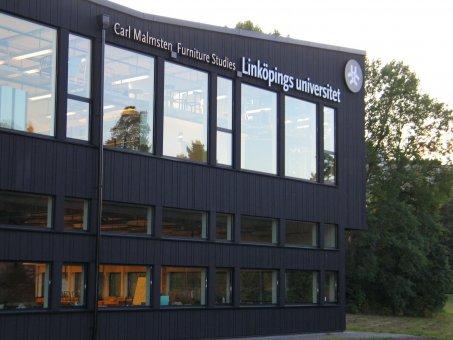 Linköpings universitet. Diodskylt profil 6. Vit och gullysande.