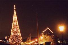 Julbelysning utomhus.