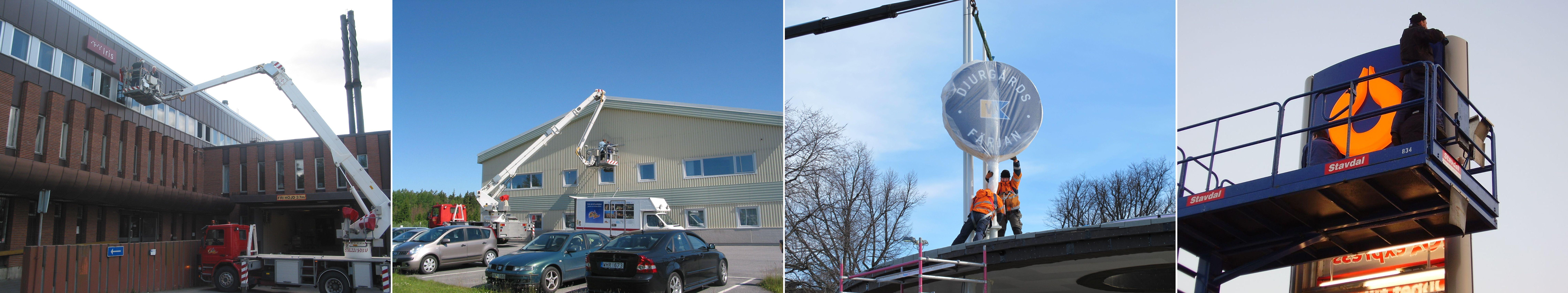 Montering av skyltar, montage, service, trasig skylt, skylift, lysrör.
