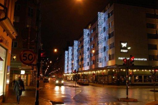 Hotel Amaranten. Draperier som är monterade på specialtillverkade stativ.