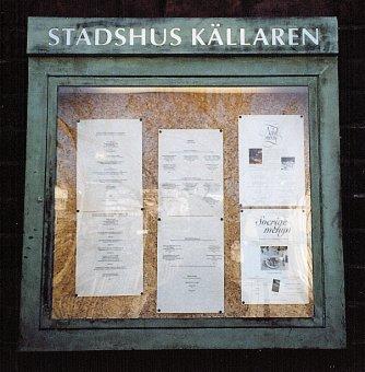 Informationsskåp Stadshus Källaren. Tillverkad av kopparplåt.
