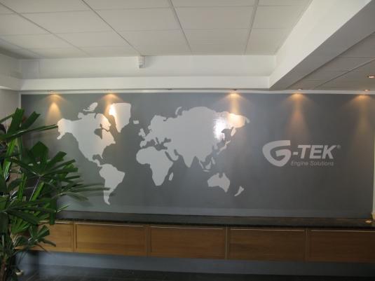 G-tek: Här har vi folierat en vägg med vinylfolie